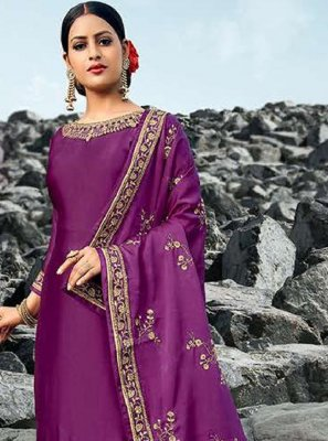 Georgette Purple Salwar Suit