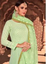 Georgette Readymade Salwar Suit in Green