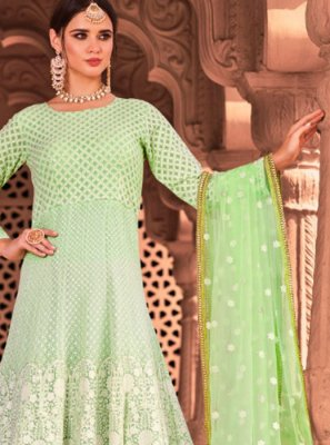 Georgette Readymade Salwar Suit in Green