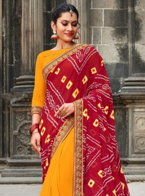 Georgette Red and Yellow Border Printed Saree
