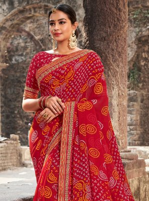 Georgette Red Border Printed Saree