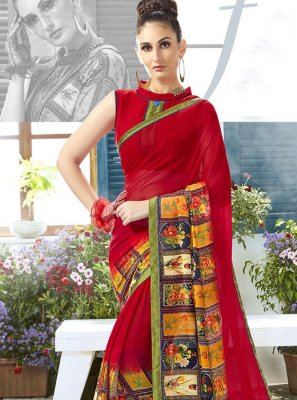 Georgette Red Classic Designer Saree
