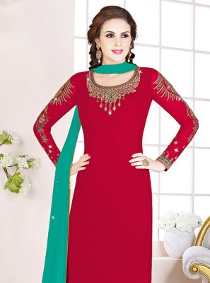 Georgette Red Embroidered Designer Salwar Kameez