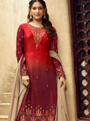 Georgette Red Embroidered Salwar Kameez