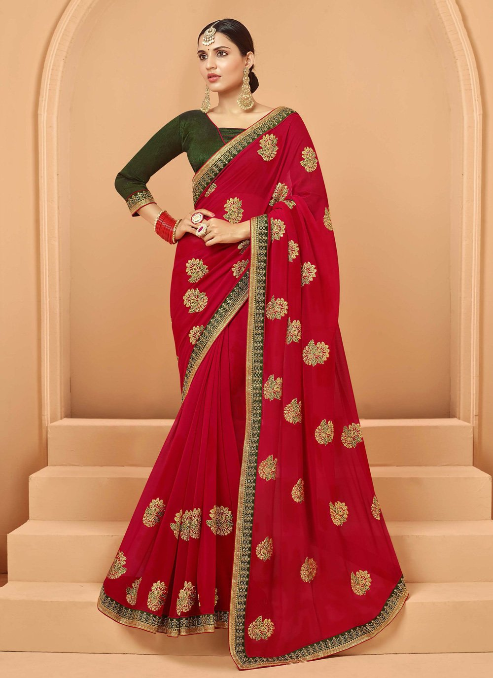 Georgette Red Embroidered Traditional Saree