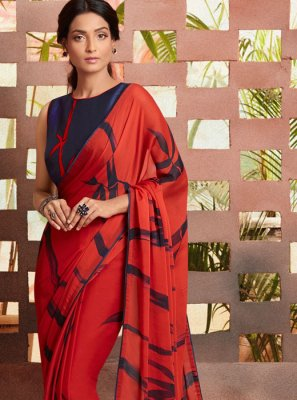 Georgette Red Printed Casual Saree