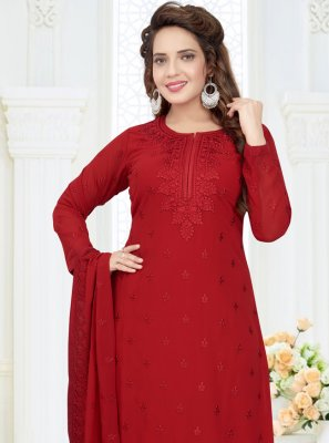 Georgette Red Readymade Churidar Salwar Kameez
