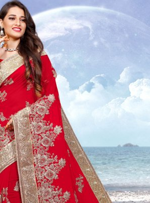 Georgette Red Resham Designer Saree