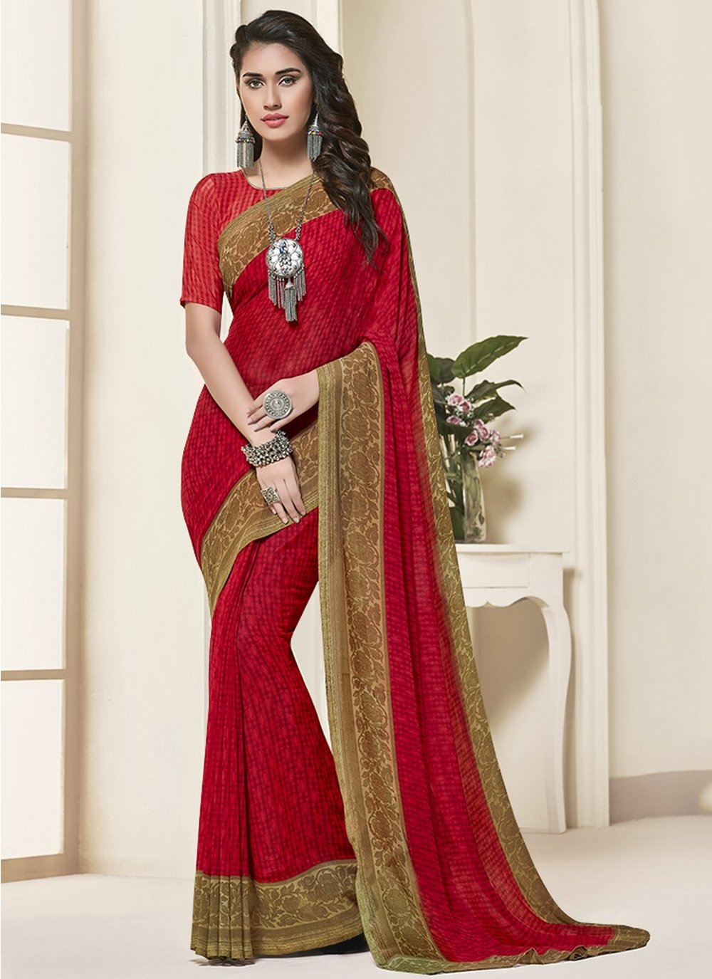 Georgette Red Saree