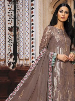 Georgette Resham Brown Salwar Suit