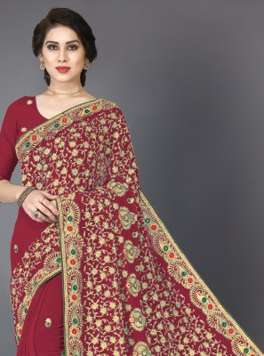 Georgette Resham Classic Saree in Red