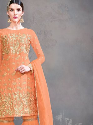 Georgette Resham Designer Suit in Orange