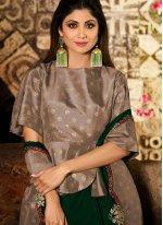 Georgette Resham Green Classic Designer Saree