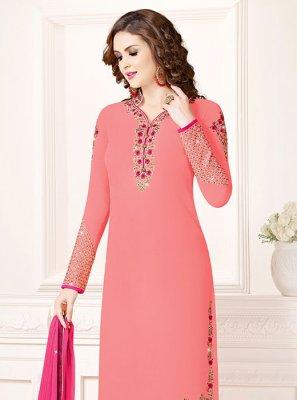 Georgette Resham Pink Churidar Salwar Kameez