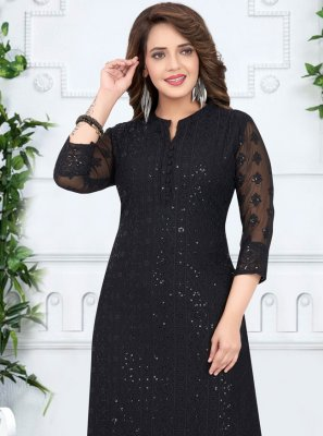Georgette Resham Salwar Kameez in Black