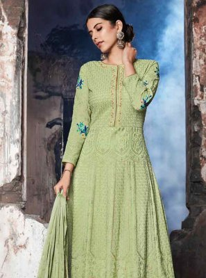 Georgette Resham Sea Green Anarkali Salwar Suit