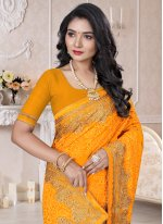 Georgette Resham Trendy Saree in Yellow