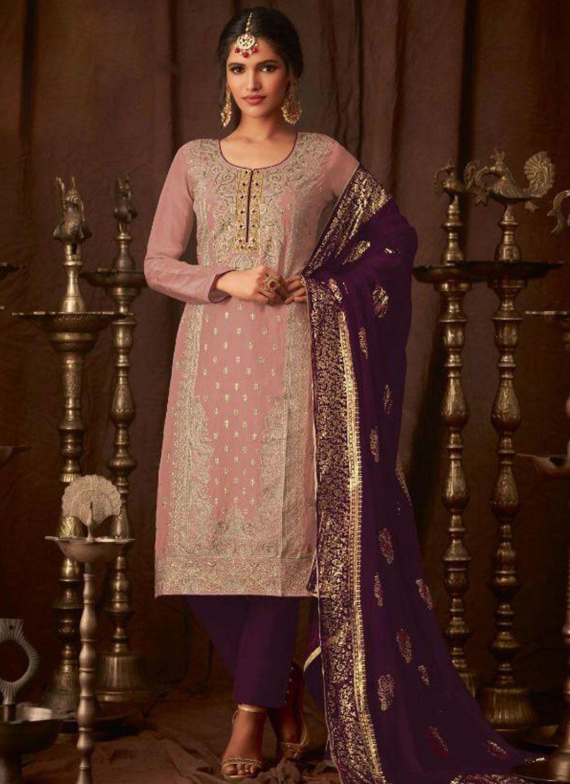 Georgette Salwar Kameez in Purple