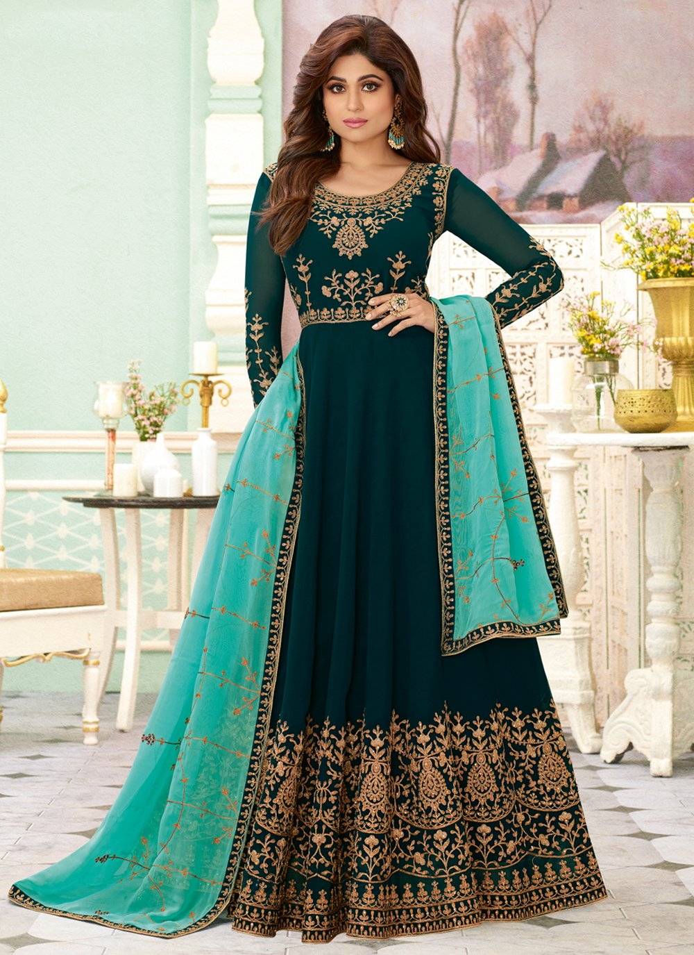 Georgette Salwar Suit in Green