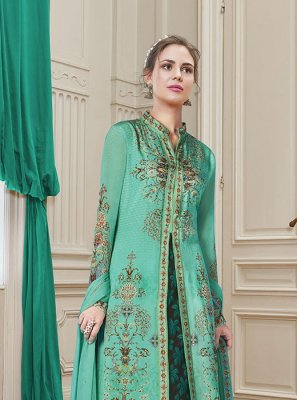 Georgette Salwar Suit in Sea Green