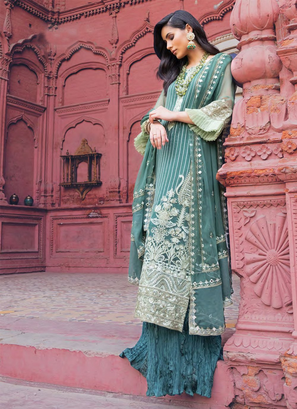 Georgette Salwar Suit in Teal