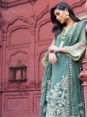 Georgette Salwar Suit in Teal