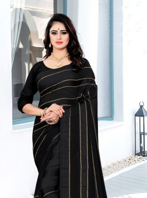 Georgette Satin Black Classic Saree