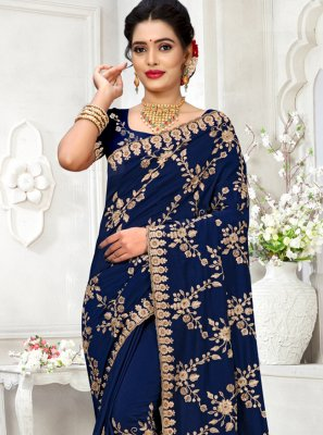Georgette Satin Blue Bollywood Saree