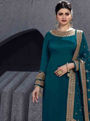 Georgette Satin Designer Palazzo Salwar Suit in Green