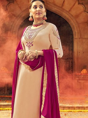 Georgette Satin Designer Salwar Suit in Cream