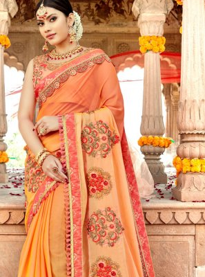 Georgette Satin Embroidered Classic Saree in Orange