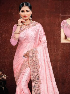 Georgette Satin Embroidered Classic Saree in Pink