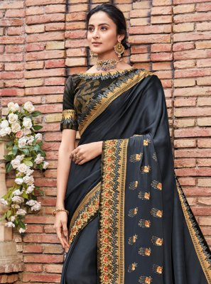 Georgette Satin Embroidered Designer Saree in Navy Blue