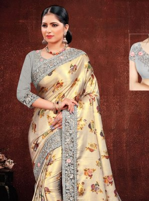 Georgette Satin Embroidered Multi Colour Classic Saree