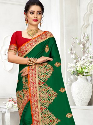 Georgette Satin Green Contemporary Saree