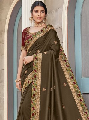 Georgette Satin Green Lace Designer Saree