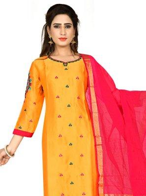 Georgette Satin Mustard Embroidered Designer Salwar Kameez