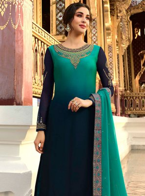 Georgette Satin Navy Blue Designer Palazzo Suit