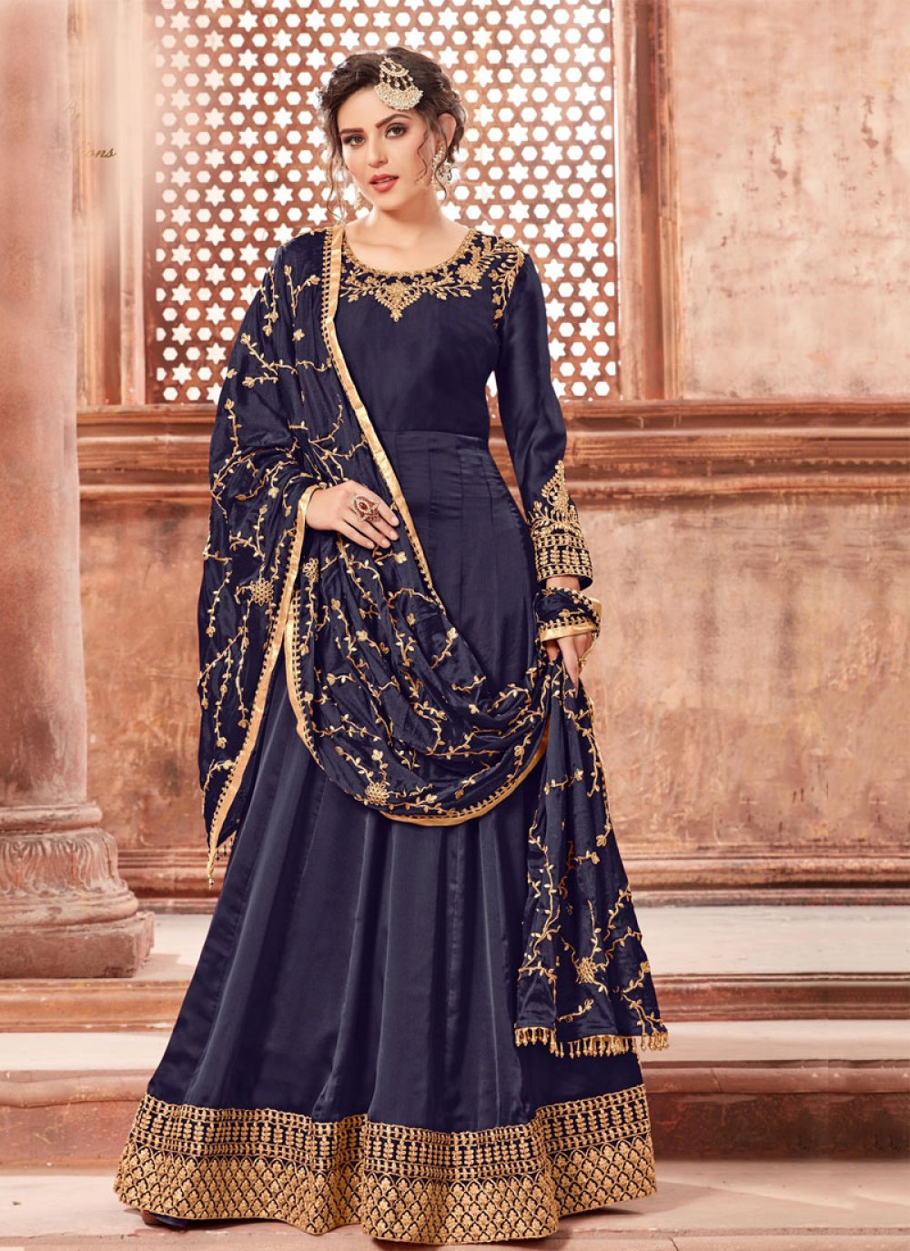 Georgette Satin Navy Blue Trendy Anarkali Suit