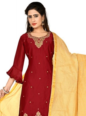 Georgette Satin Party Churidar Salwar Kameez