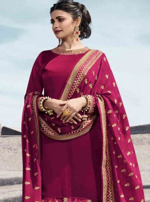 Georgette Satin Pink Designer Palazzo Suit