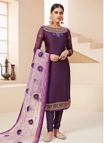 Georgette Satin Purple Designer Salwar Kameez