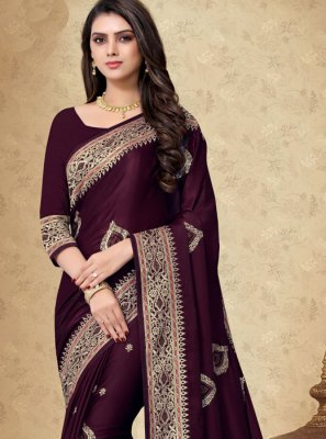 Georgette Satin Purple Embroidered Designer Saree