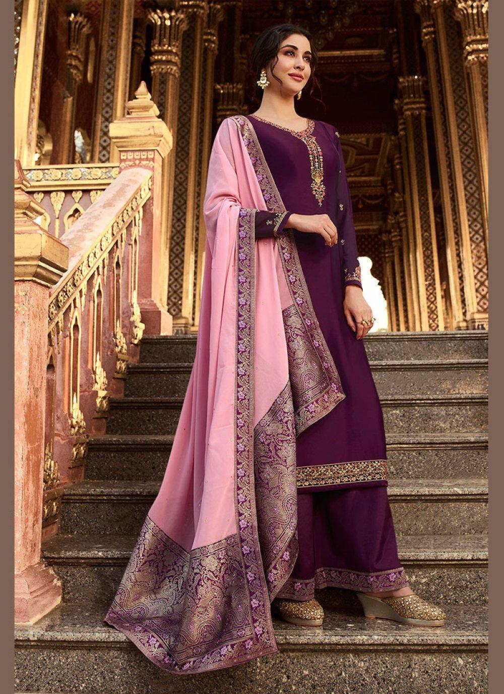 Georgette Satin Purple Resham Designer Palazzo Suit