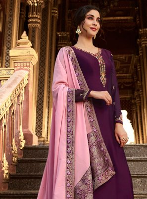 Georgette Satin Purple Resham Designer Palazzo Suit