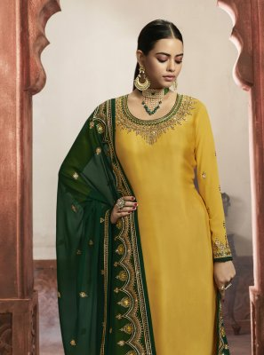 Georgette Satin Reception Designer Salwar Kameez