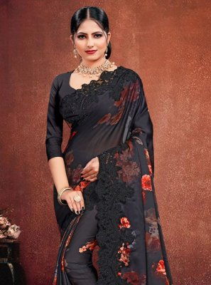 Georgette Satin Resham Black Classic Saree