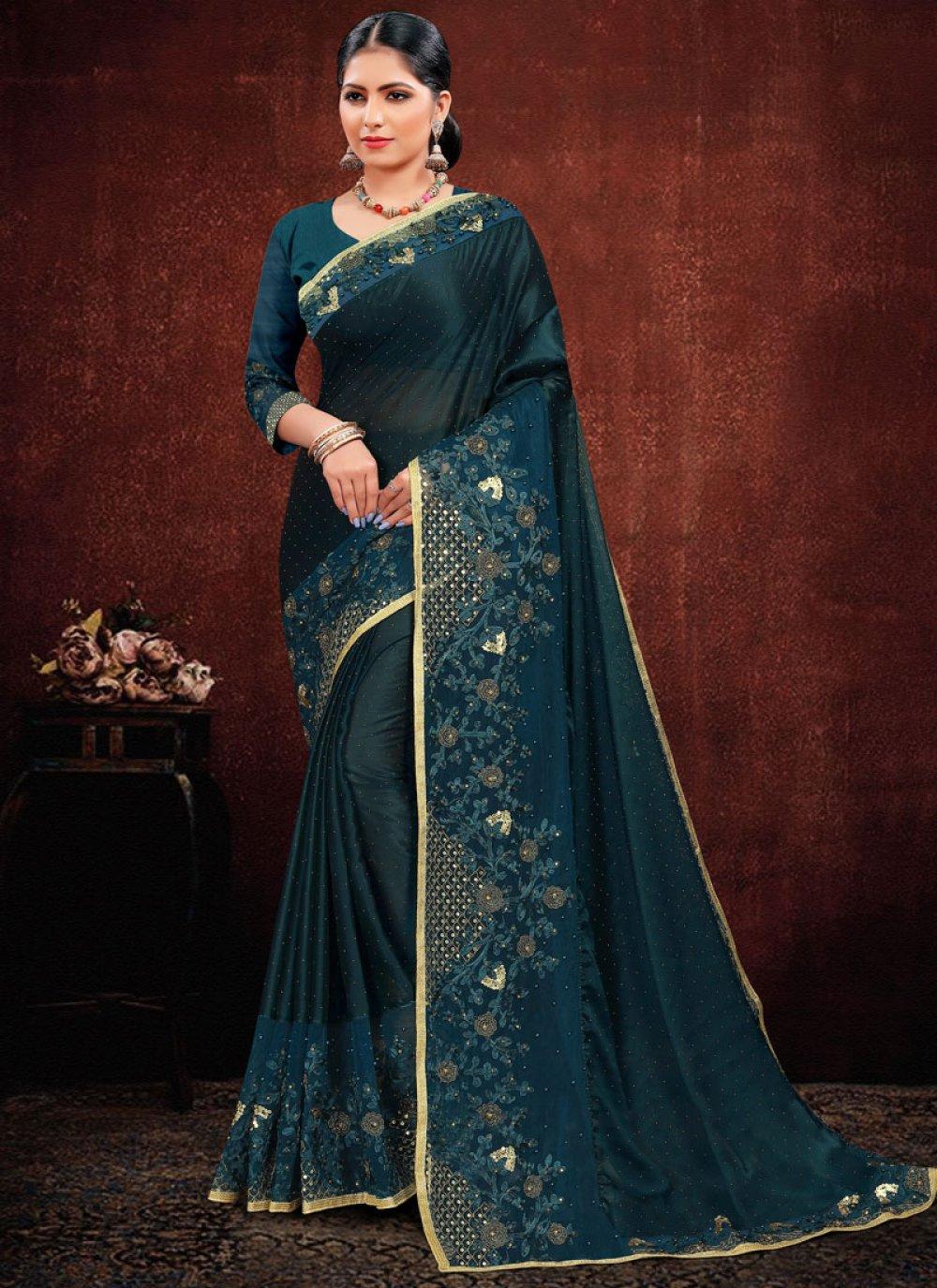 Georgette Satin Resham Blue Classic Designer Saree
