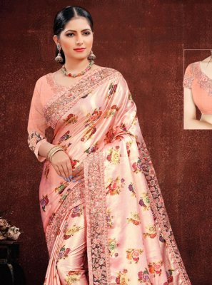 Georgette Satin Resham Classic Designer Saree in Multi Colour