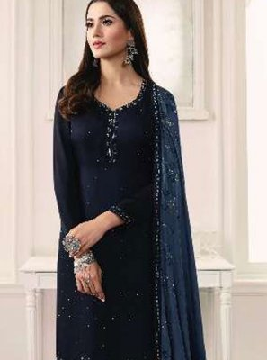 Georgette Satin Resham Trendy Churidar Suit in Navy Blue